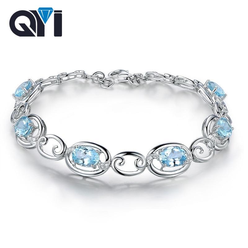 QYI 925 Sterling Silver Bracelets 45 ct Oval cut Natural sky Blue Topaz Gemstone Bracelets For Women Color Gems Wedding gift