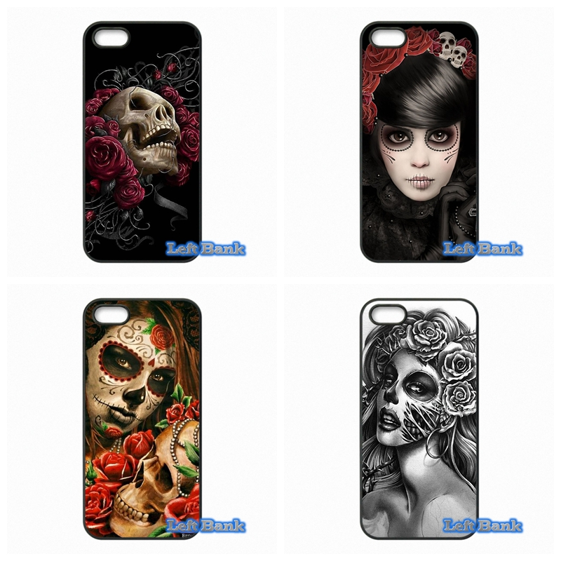 Floral Sugar Skull Tattooed Phone Cases Cover For Apple iPhone 4 4S 5 5S 5C SE 6 6S 7 Plus 4.7 5.5 iPod Touch 4 5 6