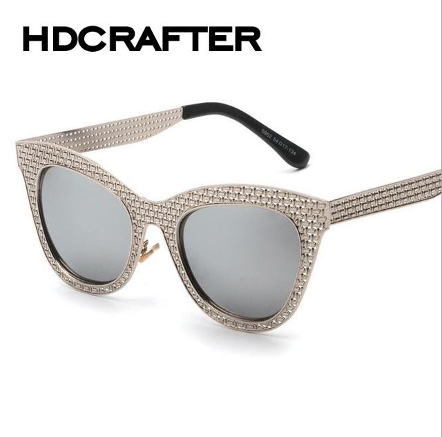 Hdcrafter cat eye sunglasses mulheres marca designer óculos de sol