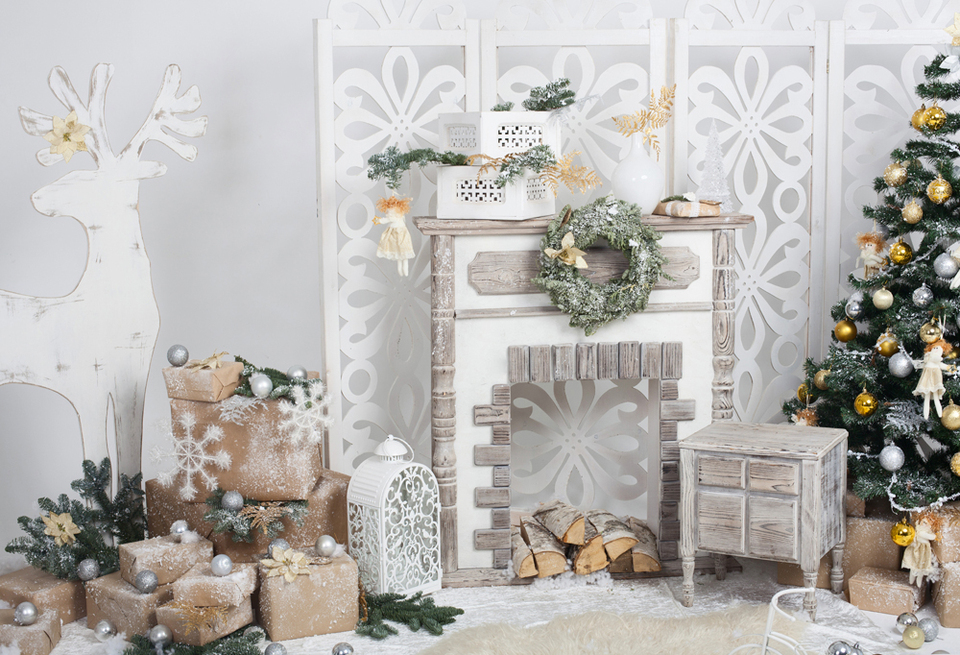 LB Christmas Fireplace Backdrop 10x8ft Vinyl Xmas Tree Vintage Stove Gift Box Backdrops for Photography Family Party Kids Adult Portrait Photobooth Studio Props