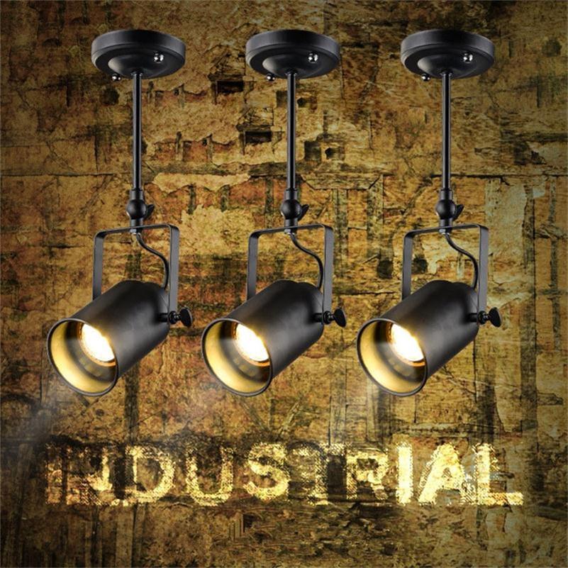 Loft Vintage FÜHRTE Schienenbeleuchtung Schmiedeeiserne Deckenlampen Kleidung Bar COB Scheinwerfer Industrie Amerikanische Stange Spot-beleuchtung