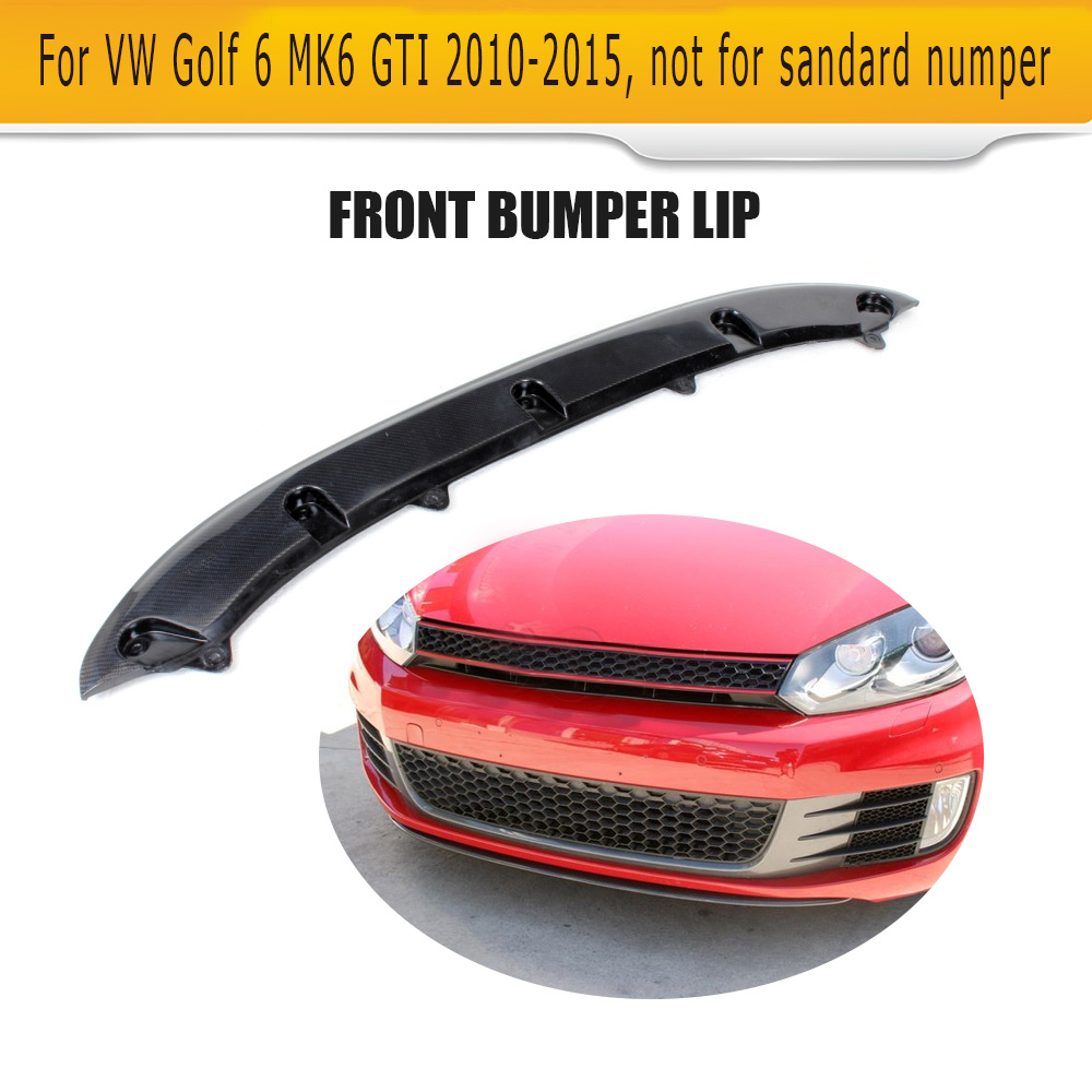 цена на Carbon Fiber car Front Bumper Diffuser Lip Spoiler For Volkswagen VW Golf 6 MK6 GTI 2010 2011 2012 2013 Black FRP Car O Style