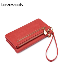 LOVEVOOK Women Wallet Female Long Purse Card Holder Multi Card Slots With Wrist Strap Coin Pocket