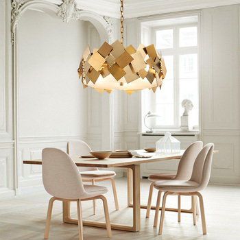Nordic Modern Lustre Luminarie Led E14 Pendant Light Rotatable Steel Hanging Lamp Chain Gold Poker Led Suspension Lamp