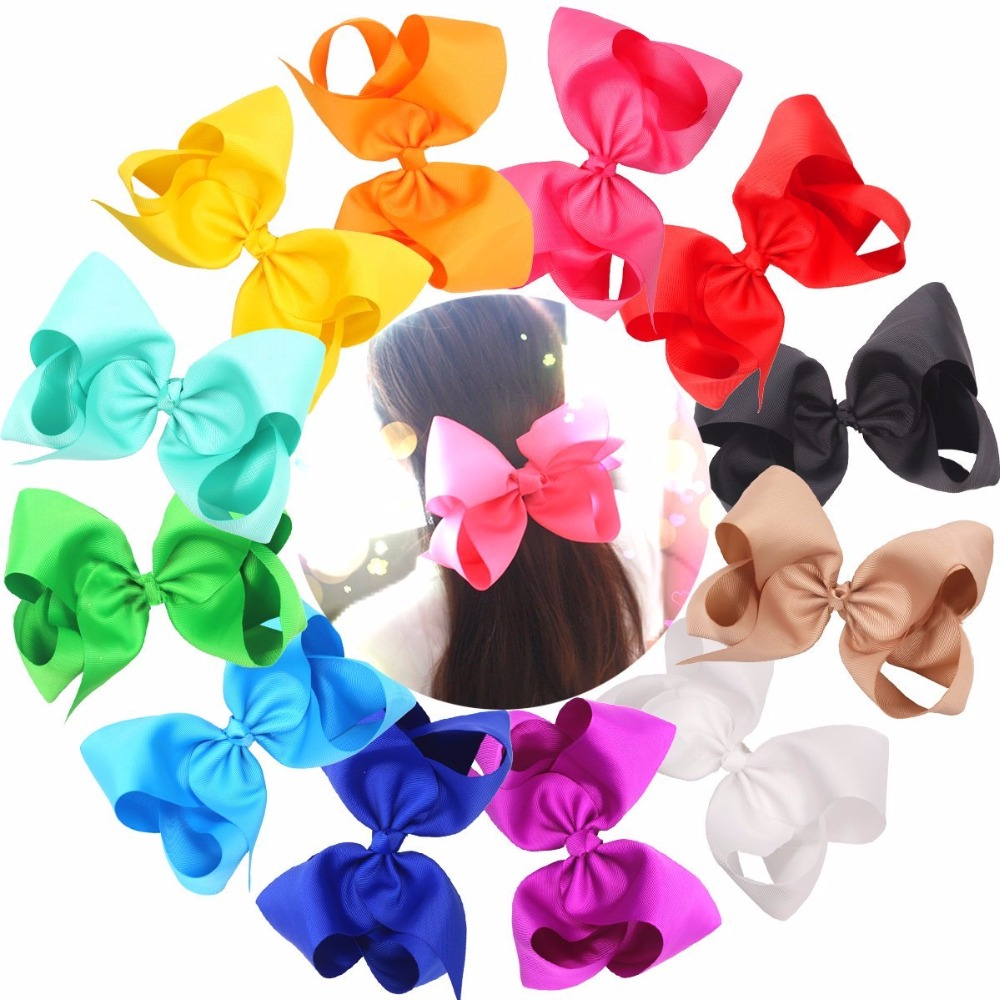 "4/"" White /& Black 3 Pack Bow Hair Alligator Clip Girls Ribbon Bows Kids Accessory"