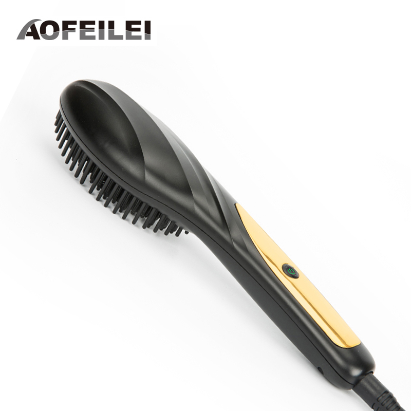 2017 New Flat Iron Electric Fast Hair Comb Brush Professional Hairdressing Plastic Detangling Styling Tools Straightener Irons professional ceramic fast hair straightener brush flat iron best price electric hair straightening styling tools