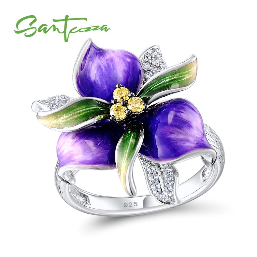 SANTUZZA Silver Ring For Women 925 Sterling Silver Purple Flower White Cubic Zirconia Ring Party Fashion