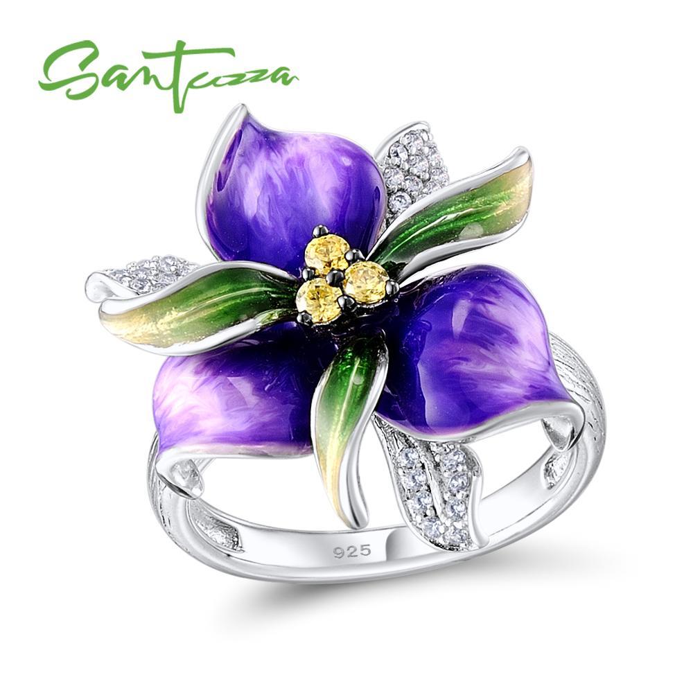 SANTUZZA bague en argent pour les femmes 925 en argent Sterling violet fleur blanc zircon cubique bague fête bijoux de mode à la main émail