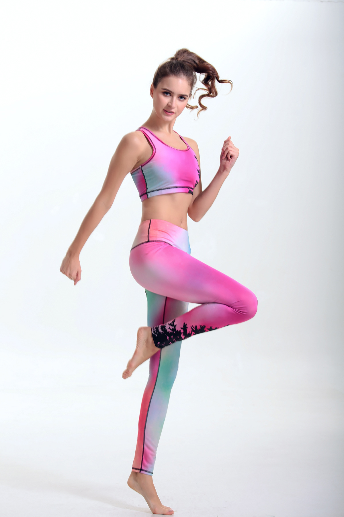 Women s Yoga sets Compression Sports Pants Elastic Wicking Force Exercise Tights Female Running Trousers Gym