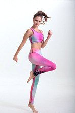 Women's Yoga sets Compression Sports Pants Elastic Wicking Force Exercise Tights Female Running Trousers Gym Slim Leggings