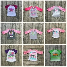 98401b0fa new arrival happy Easter baby girls print bunny pink egg cotton boutique  top T-shirt raglan clothing floral ruffles kids wear