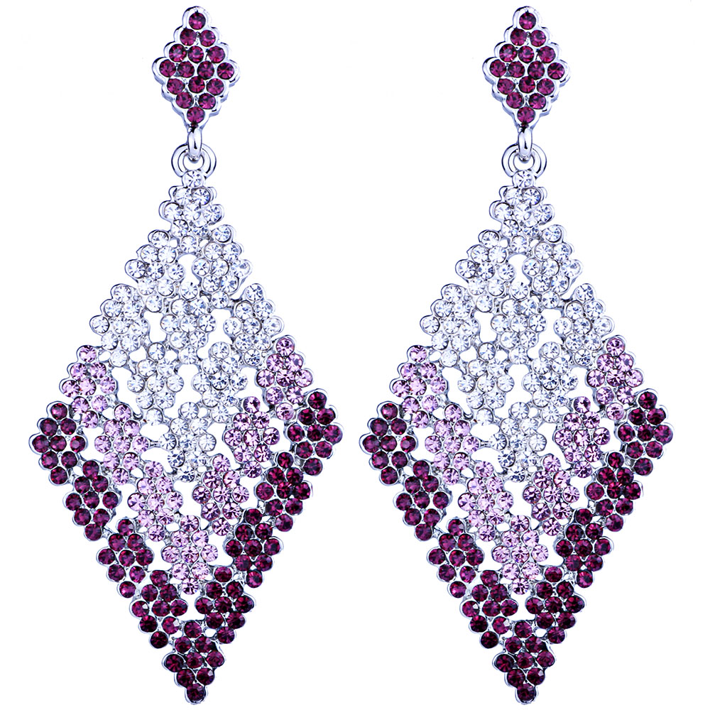Farlena Gold & Silver Plated Big Rhombic Drop Earrings With Rhinestones  Fashion Long Earrings For Women Wedding Prom