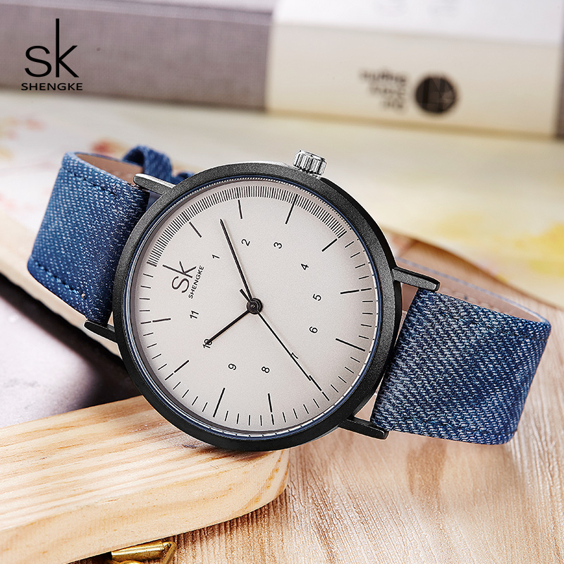 Shengke Casual Watches Women Girls Denim Canvas Belt Women Wrist Watch Reloj Mujer 2019 New Creative Female Quartz Watch