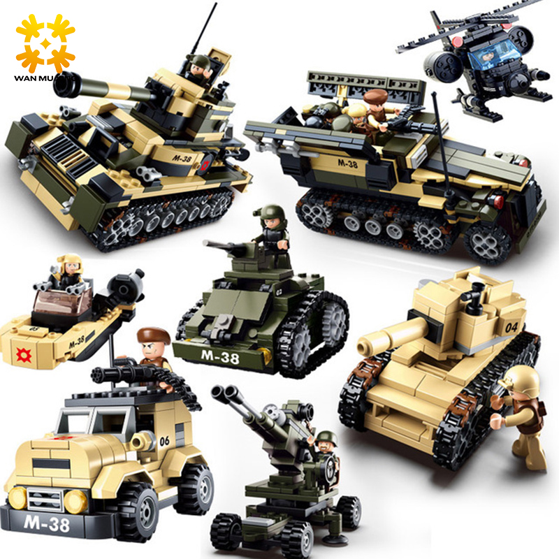 WMX DIY eductional 8 in 1 Building Blocks Sets Military Army Tank children Kids Toys compatible with major brand blocks