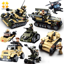 WMX DIY eductional 8 in 1 Building Blocks Sets Military Army Tank children Kids Toys compatible