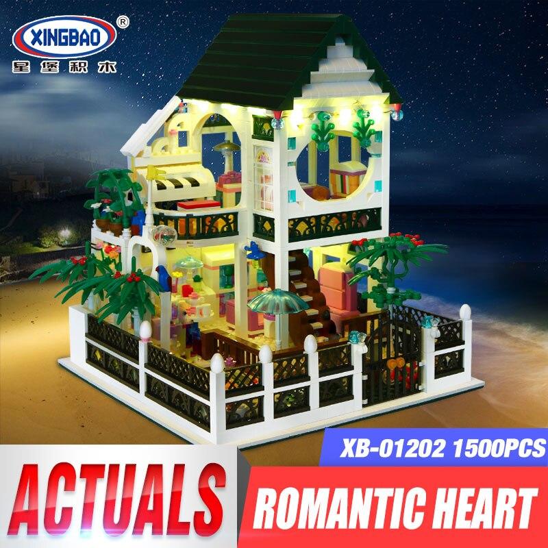 Здесь можно купить  XingBao 01202 1500Pcs the New Romantic Heart Set with Light USB Building Block Bricks Educational Toy as Valentine