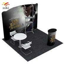 Stand courbé de haute qualité, 10 pieds x 7,5 pieds, tissu à Tension arrière avec étagère et comptoir de Table ovale avec graphiques