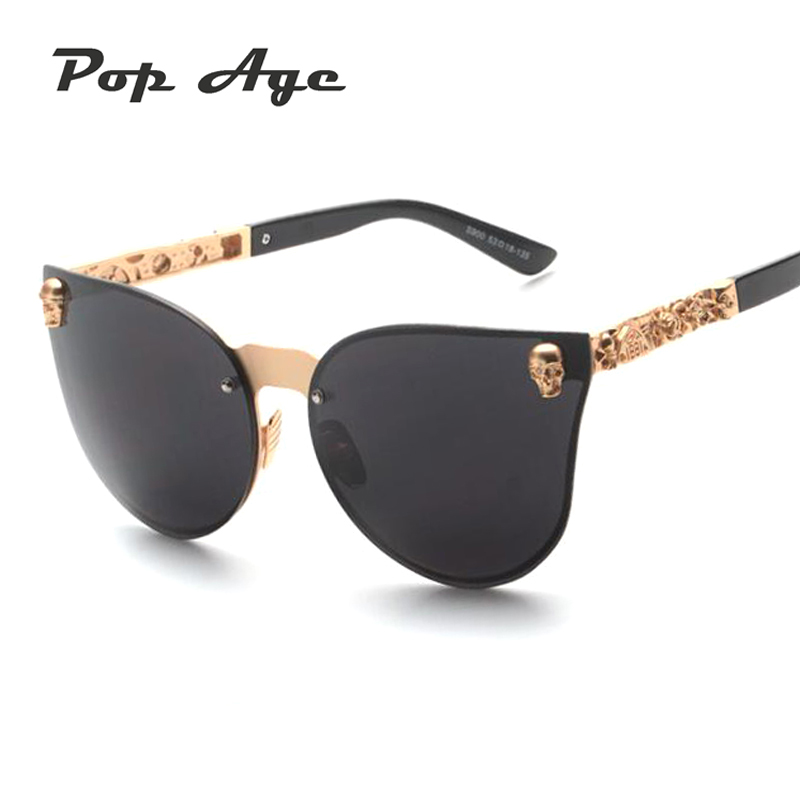 Pop Age Luxury Gothic Sunglasses Crystal Steampunk Sun glasses High Quality Women Men Cat Eye Punk Eyewear Retro lentes Shades