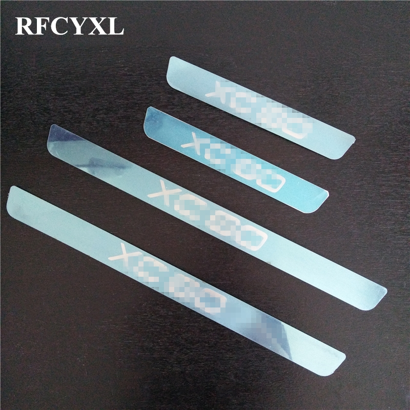4pcs/set Car Door Sill Strip For Volvo New XC60 2018 Welcome Pedal Covers Car Styling Stickers Auto Decoration Accessories