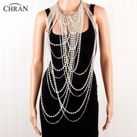 Chran Sexy Beaded Chain Scarf Pendant Center Ladies Vest Silver Gold Color Faux Pearl Bib Shoulder Necklace Body Jewelry BDC904