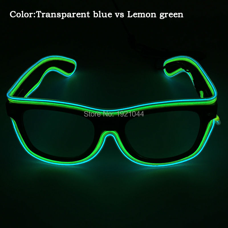 New design Double Color Sunglasses EL Wire Glowing Glasses with DC-3V Sound activated Inverter for Party Supplies