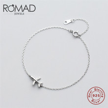 ROMAD Real 925 Sterling Silver Jewelry Aircraft airplane Plane chain bracelet adjustable Charm sterling-silver for Girl Woman R4