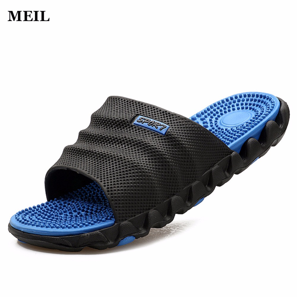 2017 Summer Slippers Men Casual Sandals Leisure Soft Slides IVI Plastic Indoor Acupoint Massage Slippers for Men