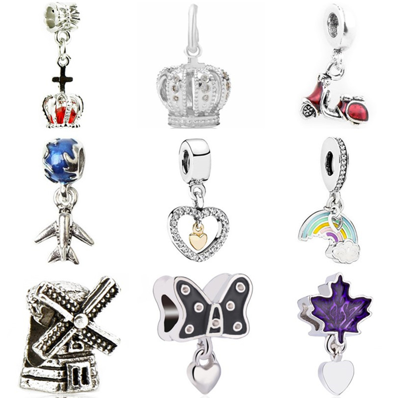 Heart Beads Charms Flower Crystal-Crown Aircraft-Maple-Leaf Rainbow Fit Pandora Butterfly
