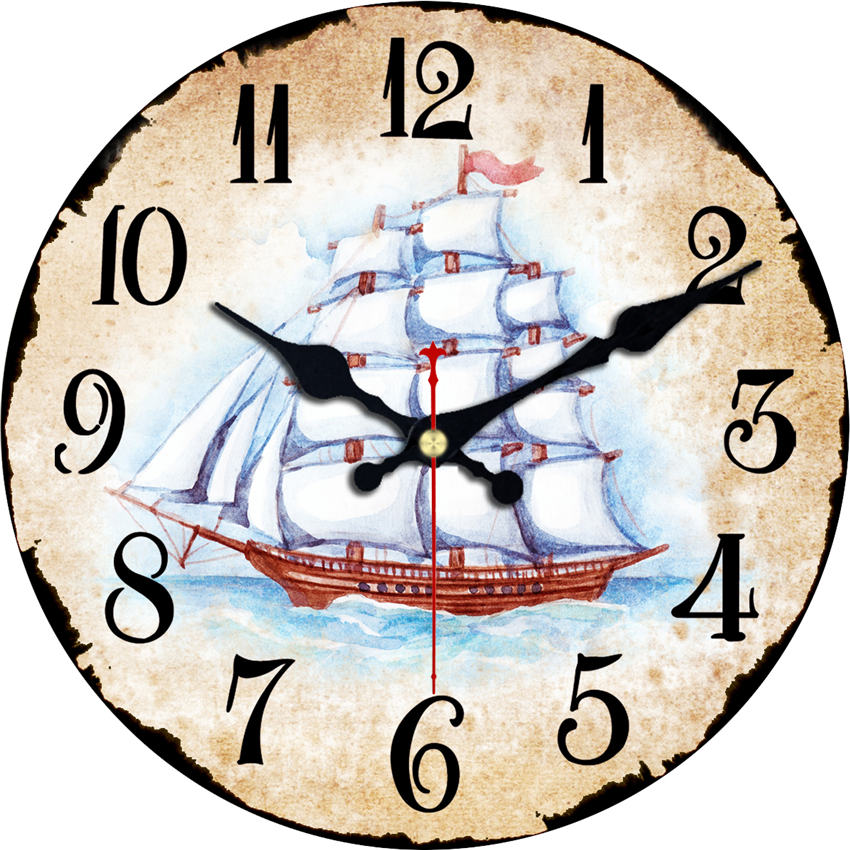 WONZOM Ship Sailing Modern Style Wooden Cardboard Clock,Round Wall Clock For Home Decor Living Room No Ticking Sound 6-16 Inch