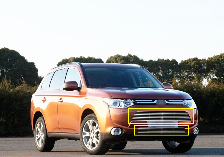 Car Styling!High quality stainless steel Front Grille Around Trim Racing Grills Trim for Mitsubishi Outlander 2013 2014