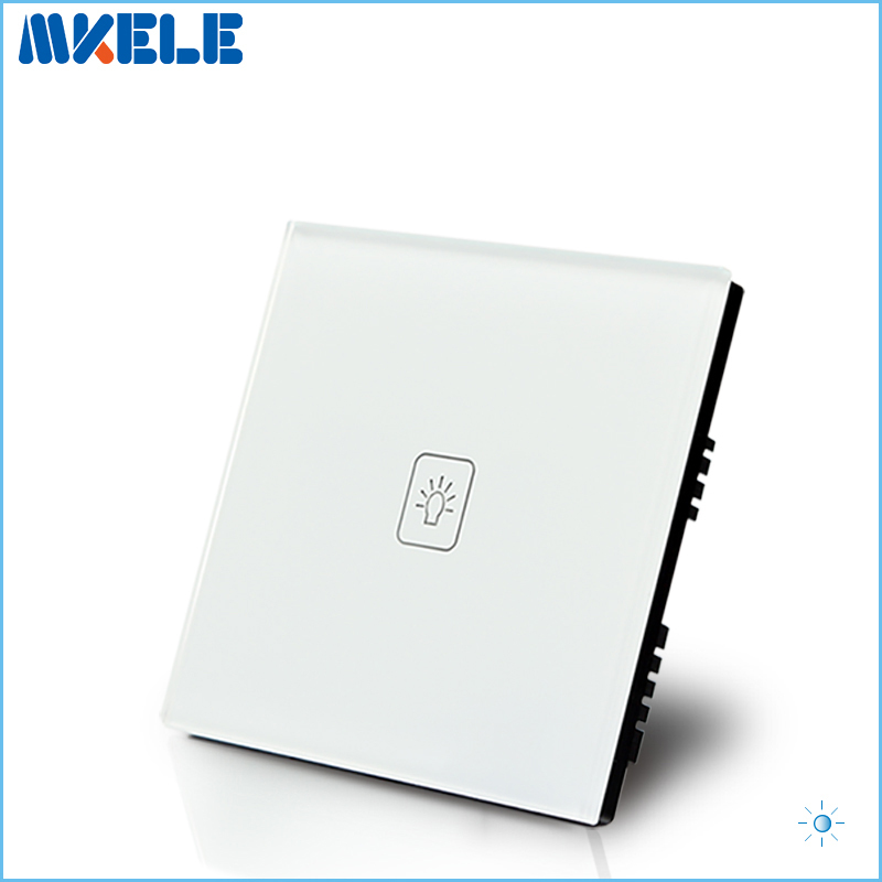 UK Standard 1 Gang 1 way LED Touch Dimmer Switch White Crystal Glass Panel Light Wall Switch Dimmer Smart Home smart home us au wall touch switch white crystal glass panel 1 gang 1 way power light wall touch switch used for led waterproof