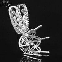 HELON 14 15mm Round Cut solid 10K White Gold Pendant Vintage Filigree Antique Semi Mount Pendant Art Deco fine jewelry women