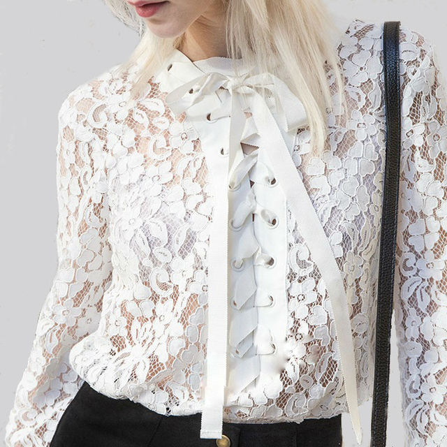 54674910 White lace blouses lace up long sleeve women shirts blouses tie front bow  shirt hollow out WD787
