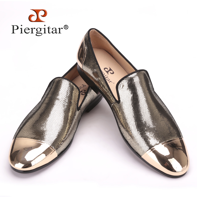 PIERGITAR 2019 new arrive Handmade Men Three color bright Sheepskin shoes with front and back Metal Weeding and prom men loafers