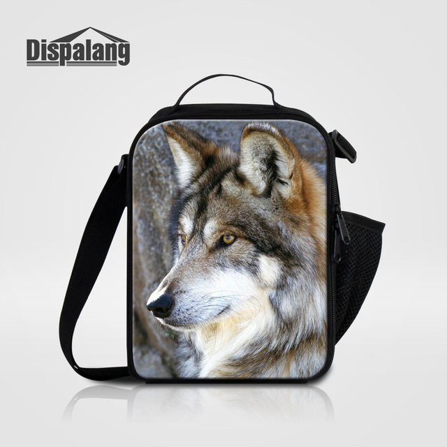 84f6b68be328 US $16.99 32% OFF|Dispalang Women Thermal Food Lunch Box Wolf Animal Print  Lunch Bag For Students Children Small Picnic Cooler Bags Drop Shipping-in  ...