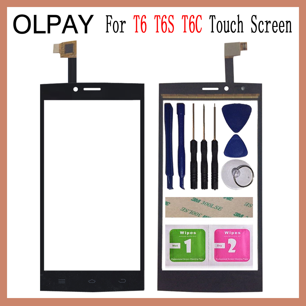 OLPAY 5.0'' Touch Glass Panel For THL T6 T6S T6C Touch Screen Digitizer Glass Sensor Tools Free Adhesive+Clear Wipes