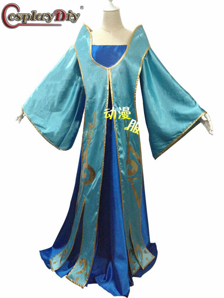 Cosplaydiy jeu LOL Maven des cordes Sona Buvelle Cosplay femmes bleu robes Costume ensemble complet tenues d'halloween