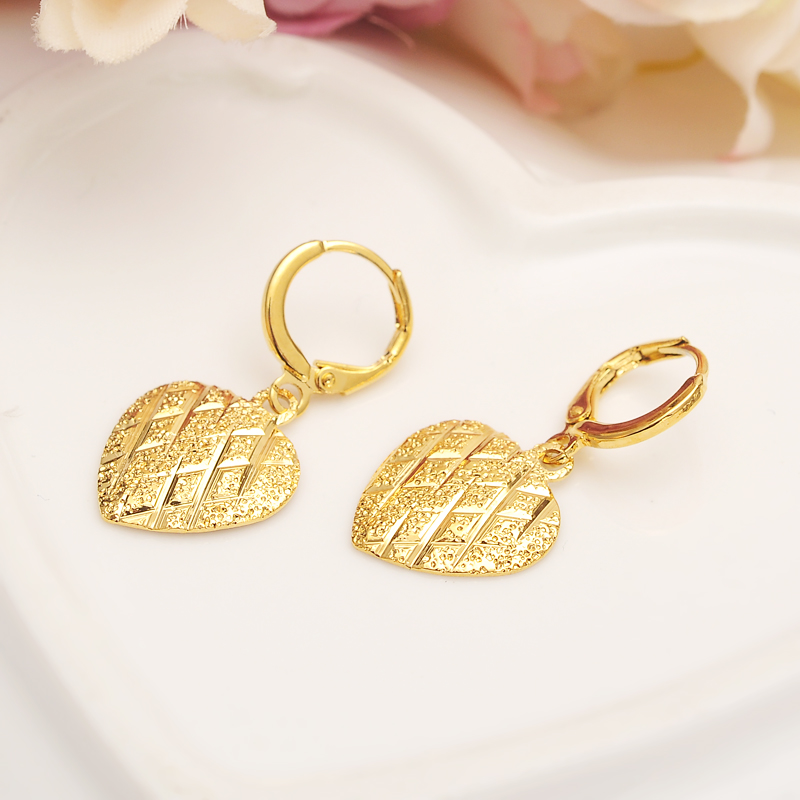 Bangrui Classical Africa love heart shape Earrings for Women / Girl, Gold Color Arab Middle Eastern party  Jewelry Mom Gifts gold earrings for women