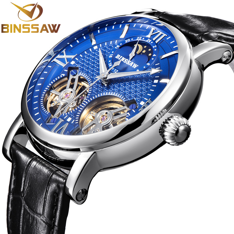BINSSAW Double Tourbillon Automatic Mechanical Men Watch Fashion Luxury Brand Leather Stainless Steel Watches Relogio Masculino