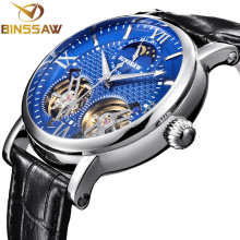 BINSSAW Double Tourbillon Automatic Mechanical Men Watch Fashion Luxury Brand Leather Stainless Steel Watches Relogio Masculino carnival mechanical men watch phase moon leather strap double calendar stainless steel multi function clock relogio masculino