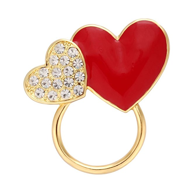 The Beautiful Simple Brooches Crystals Charm Heart Shaped