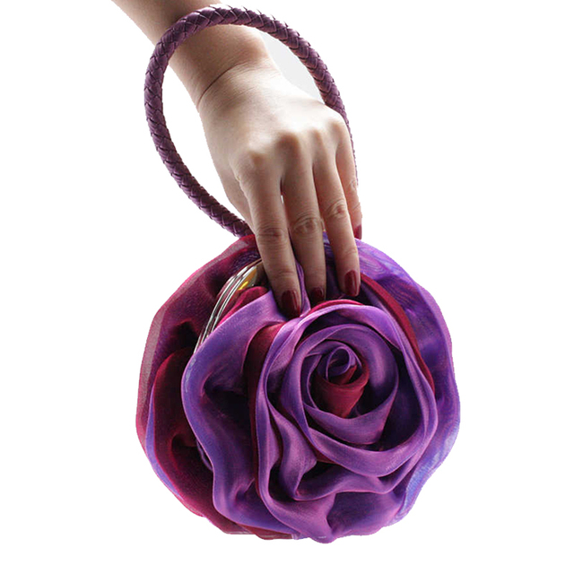 2016 Evening Clutch Bag Women Round Handbag Ladies Flower Clutch Purse Bridal Bags Nobel Knitted Leather Handle Clutches Wallet