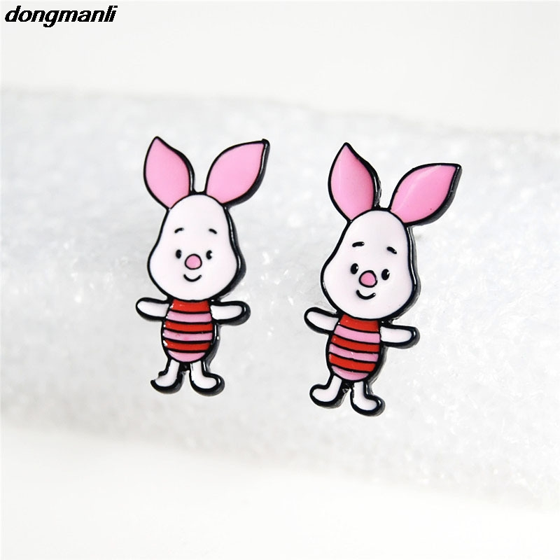 WS0987 dongmanli cute Pink Pig Cartoon Expression Stud Earrings Female Gift Fashion Jewelry Accessories