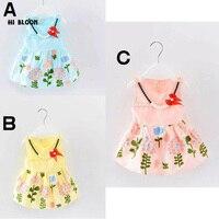こんにちはブルームブルー/ピンク/イエロー夏の写真撮影の小道具女の子ドレスプリント花子供のノースリーブの服カジュアルドレス