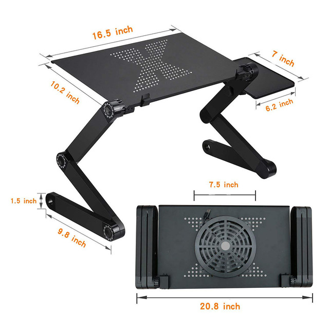 Supporto da tavolo per Laptop con Design ergonomico pieghevole regolabile supporto per Notebook per Ultrabook, Netbook o Tablet con tappetino per Mouse 4