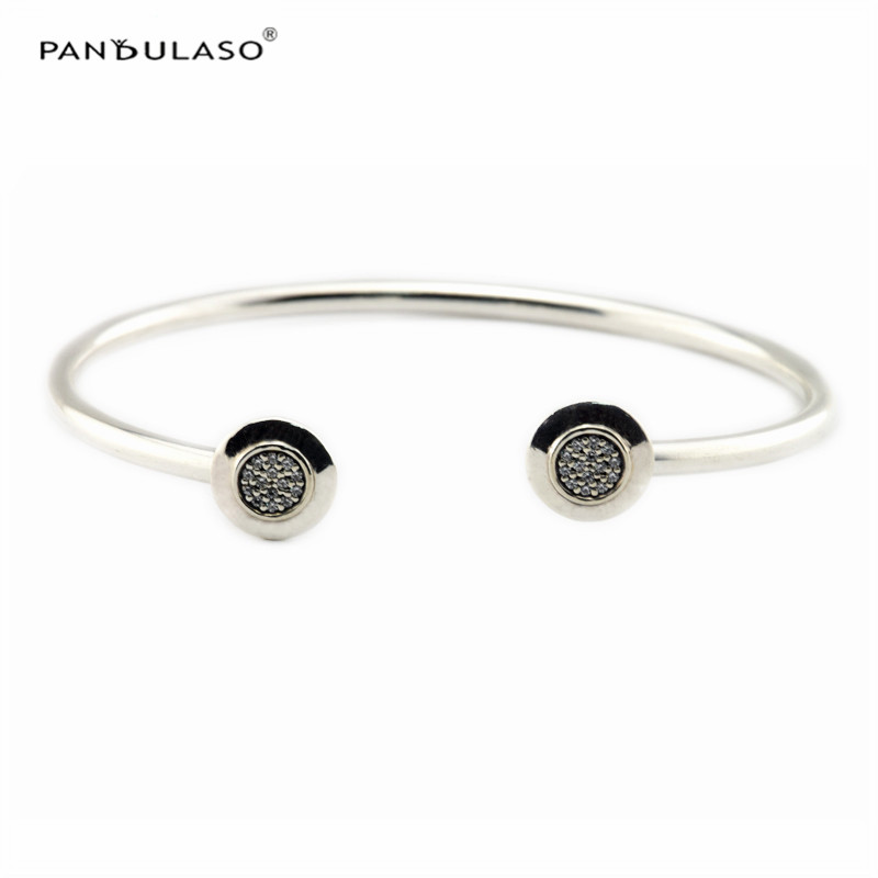 Pandulaso Clear CZ Signature Silver Bangles for Women Fashion Silver 925 Jewelry Crystal Charms Bracelets & Bangles Girl JewelryPandulaso Clear CZ Signature Silver Bangles for Women Fashion Silver 925 Jewelry Crystal Charms Bracelets & Bangles Girl Jewelry