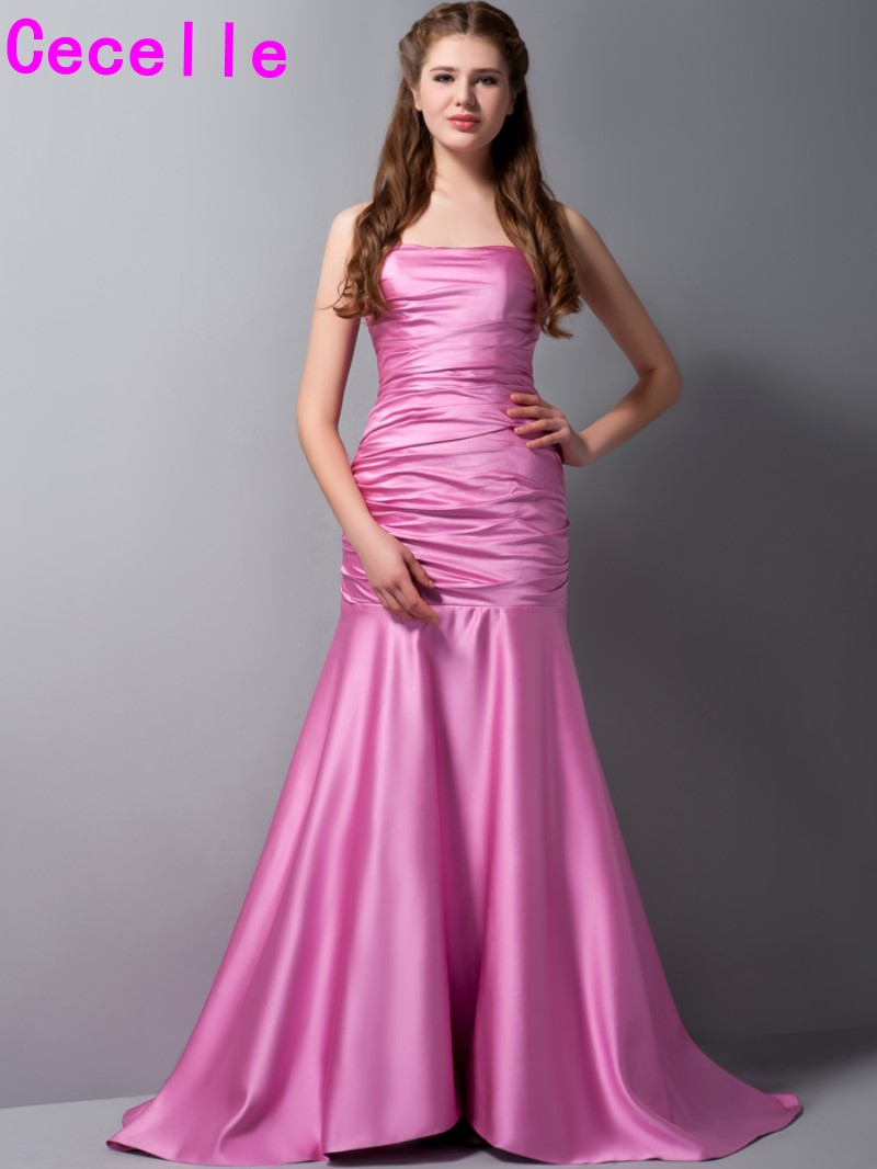 Online buy wholesale hot pink bridesmaid dresses from china hot hot pink mermaid long bridesmaid dresses 2017 real pleats sweep train women formal wedding party gowns ombrellifo Choice Image