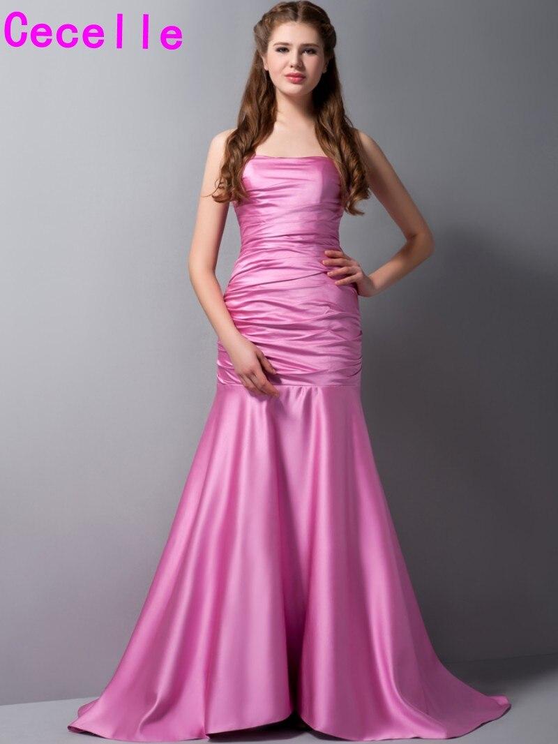 Hot Pink Mermaid Long Bridesmaid Dresses 2017 Real Pleats Sweep ...
