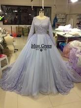 Long Sleeve Muslim Wedding Dress High Collar Lace Up Back  Chapel Train Purple Ball Gown   Wedding Gowns