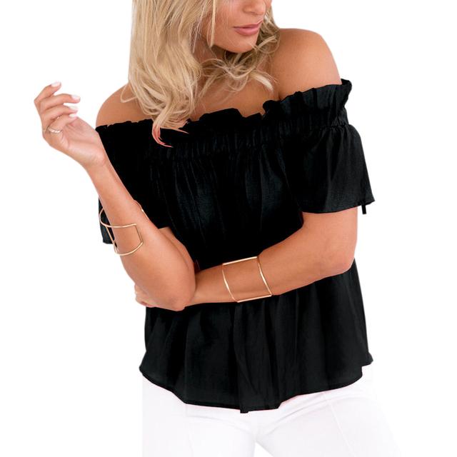 Women Clothing Ruffle Off Shoulder Tops Beach Summer Blusas Solid Chiffon Blouse Slash Neck Loose Short Sleeve Sexy Shirts GV666